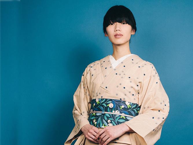 【久留米絣】 現代的な色柄、昔ながらの伝統ースノードロップ(綿100%・反/誂)