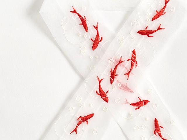 ご予約品【富士商会】ペタコさんの刺繍お半衿-流水金魚