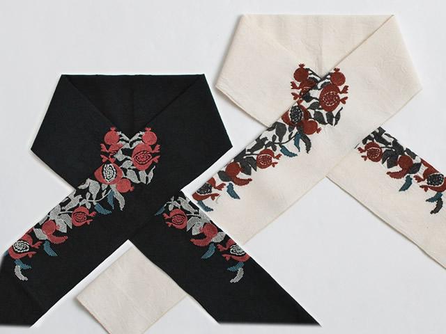 【富士商会】-ペタコさんの刺繍お半衿-ざくろ(2色)