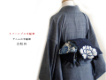 【半幅帯】アジアンテイスト・リバーシブル半幅帯 -白牡丹(お届け時期6月中旬・送料500円)