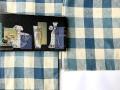 【綿麻キモノ】綿麻で楽しむ、普段着ナチュラル-青い格子キモノ(送料無料)