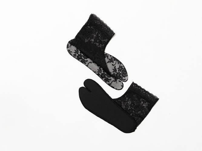 【レース足袋】靴下LIKE&長めがうれしい足首丈 - amanda(M / L)ブラック