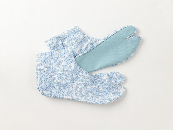 【カラフル底のおしゃれ足袋】ゑびす足袋xKIMONO MODERN-花柄SKY(綿100%・4サイズ)