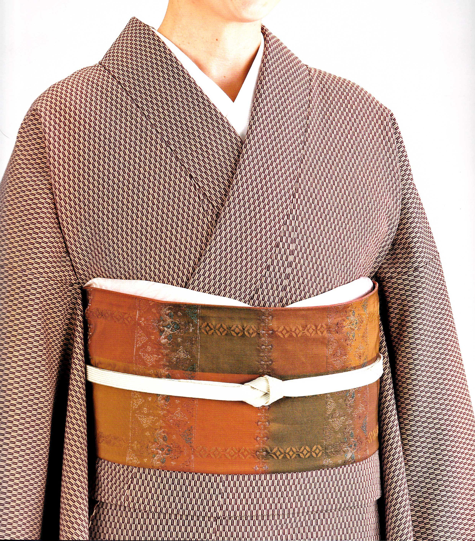 小豆色矢絣詰江戸小紋