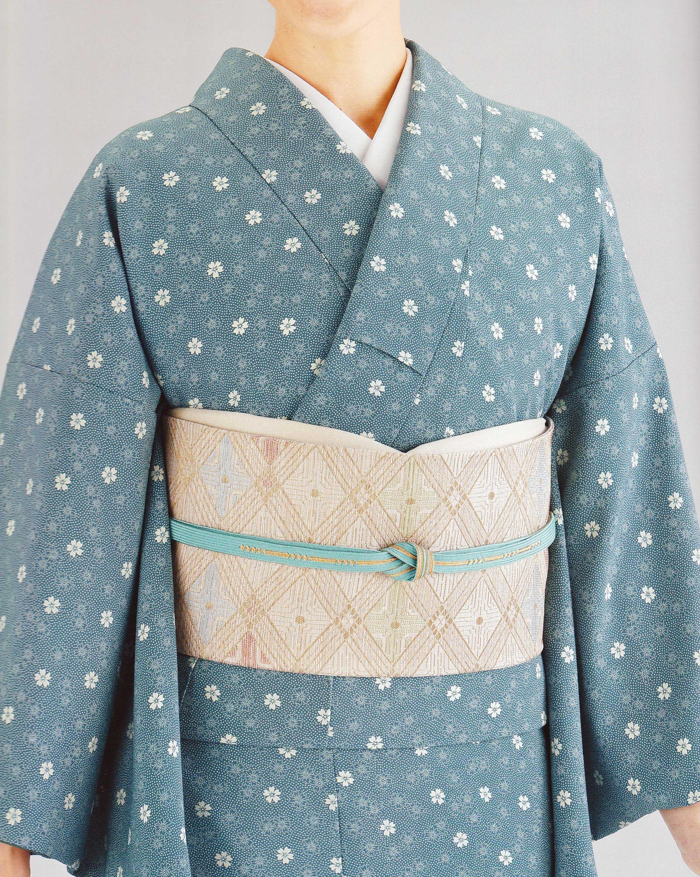 海緑桜花鮫詰江戸小紋
