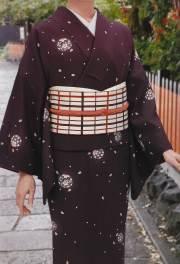 濃紫地桜花丸文飛小紋