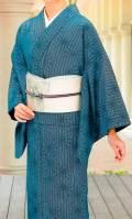 濃藍蹌踉縞麻葉柄小紋
