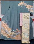 着物セット 京友禅 松井青々 訪問着と 西陣 川島織物 袋帯、帯揚げ、帯〆の4点セット