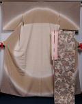 着物セット 未使用品 本塩沢 洒落訪問着と洒落袋帯、帯揚げ、帯締め 4点セット