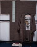 メンズ 着物セット 未使用品 紬 着物・羽織アンサンブルと角帯、長襦袢、羽織紐 5点セット