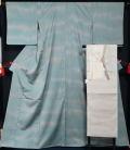 着物セット 夏着物 未使用品 紗の小紋と絽綴れ八寸名古屋帯、帯揚げ、帯〆の4点セット ますいわ屋