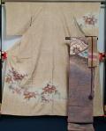 着物セット 結城紬の洒落訪問着と洒落袋帯