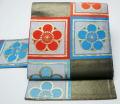 川島織物 格子に梅模様の名古屋帯