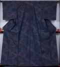未使用品 雲に花模様の大島紬 ★送料無料 【リサイクルきもの・リサイクル着物・アンティーク着物・着物買い取りの専門店】