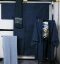 男物大島紬アンサンブル・長襦袢・兵児帯セット