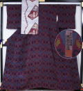 宮内庁御用達作家赤城右堂作洋風更紗模様の小紋と古代模様の八寸名古屋帯のセット