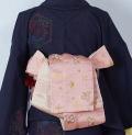 新品 リバーシブル小袋帯 『京じぇんぬ』 洋風柄 ピンク×ベージュ (4)