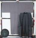 【特選稀少品】男物単衣 フォーマル用お召・色違い羽織セット 丸に揚羽蝶一つ紋