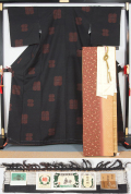 【新品仕立て上がり】 結城紬と洒落袋帯、帯揚〆の4点セット 四葉模様