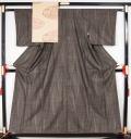 大島紬と八寸名古屋帯のセット ライン模様 7マルキ 細身サイズ