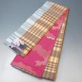 小袋帯 新品 (65)水色×オレンジ格子模様 Kyoushiori 洗える小袋帯 両面リバーシブル 日本製 半巾帯 浴衣帯