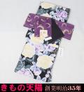 【新品】着物セット プレタ小紋と小袋帯の2点セット Madonna (4)黒地にバラ Lサイズ