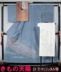 着物セット 染め大島紬洒落訪問着と洒落袋帯、長襦袢、帯揚げ、帯〆の5点セット