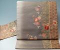名古屋帯 未使用品 ぼかしに菊花模様 刺繍 金彩 セミフォーマル 正絹