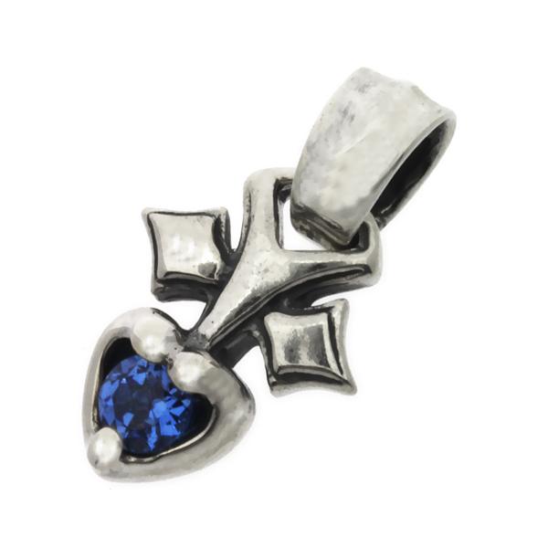 BWL(ビルウォールレザー) ピアストハートチャーム w/ストーンPierced Heart w/Stone (ブルー) C319  トップのみ