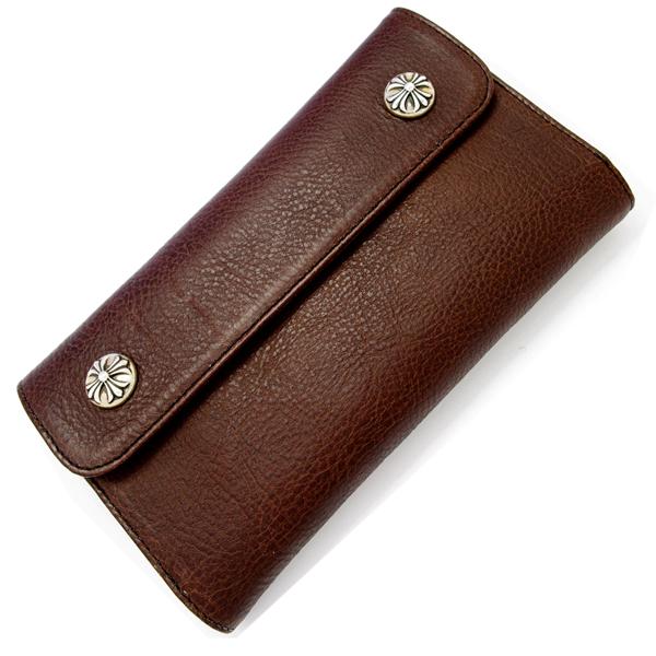 【クロムハーツ 財布】CHROME HEARTS ウェーブ・クロスボタン・ダークブラウン Wave Wallet Dark Brown Medium Leather w/Cross Buttons