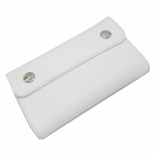 【クロムハーツ 財布】CHROME HEARTS ウェーブ・クロスボタン・ホワイトウォレット Wave Wallet White Leather w/Cross Buttons