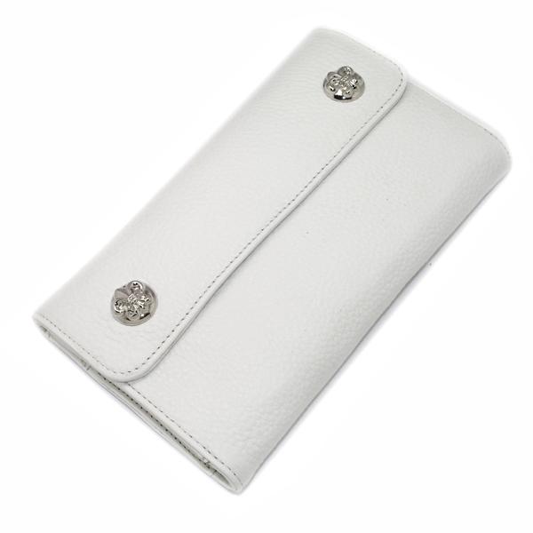 【クロムハーツ 財布】CHROME HEARTS ウェーブ・フレアボタン・ホワイトウォレット Wave Wallet White Leather w/BS Fleur Buttons