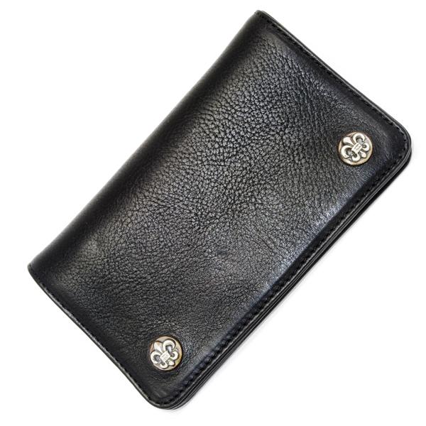 【クロムハーツ 財布】CHROME HEARTS 1 ZIP BK Heavy Leather /BS Fleur Buttons chw13