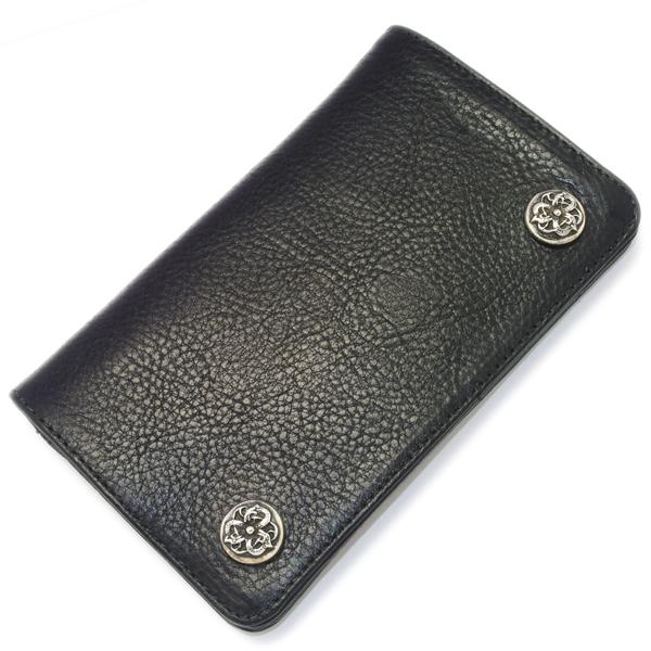 【クロムハーツ 財布】CHROME HEARTS 1 ZIP Wallet BK/Celtic 1ZIPウォレット ブラックレザー/ケルティックボタン