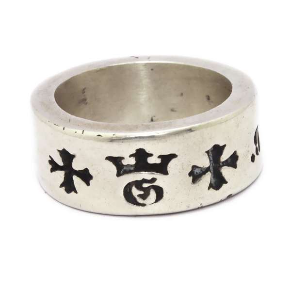 Gaboratory(ガボラトリー) Narrow G&Crown gothic cross cigar band ring 159-A