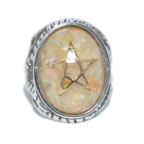 【限定】ALEX STREETER(アレックスストリーター)エンジェルハートリング オパールファイア ゴールドスター  Opal Fire Gold Star