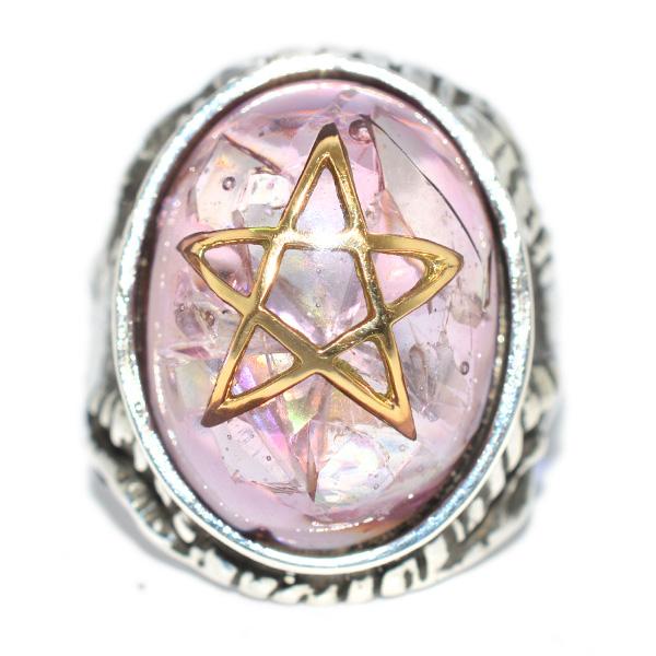 【アレックスストリーター リング】ALEX STREETER エンジェルハートリング クラックラベンダー18Kゴールドスター Crack Lavender 18K Gold Star