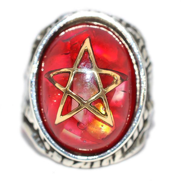 【アレックスストリーター リング】ALEX STREETER エンジェルハートリング クラックレッド18Kゴールドスター Crack Red 18K Gold Star