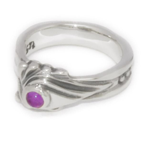 BWL(ビルウォールレザー)  Spoon small ring w/Amethyst スプーンリングスモール アメシスト R218S