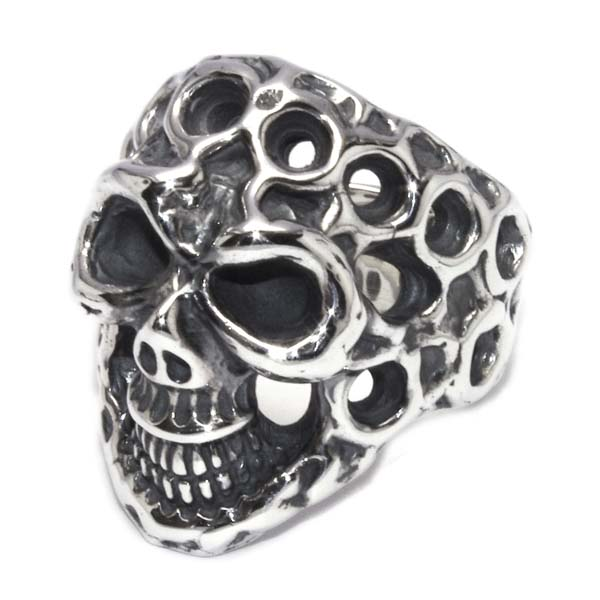 BWL(ビルウォールレザー)  Medium Master Skull Ring w/Holes  R410
