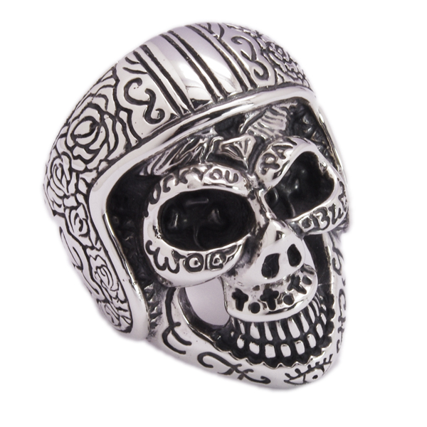BWL(ビルウォールレザー)   Medium Master Skull Ring w/Hemet  R409