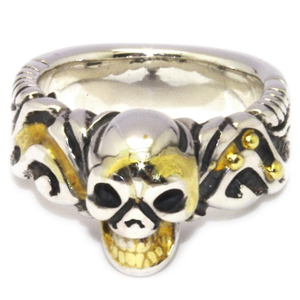 BWL(ビルウォールレザー)Sm Ultimate skull Gold Solder スモールアルティメットスカルリング【カスタムアイテム】