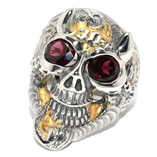 BWL(ビルウォールレザー)30th Master Skull  Flying Tire Ring w/R.Garnet Gold Overlay R419C