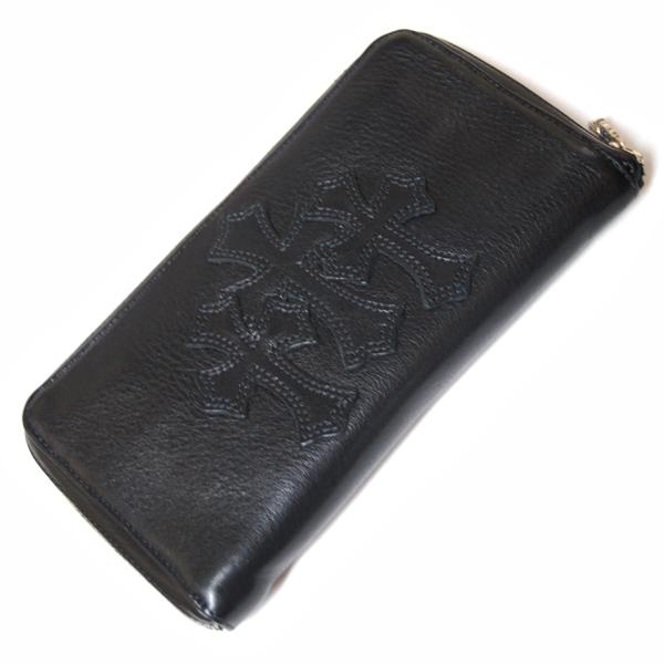 CHROME HEARTS(クロムハーツ) REC F ZIP #2 ウォレット/ブラックレザー・3クロスパッチ 財布
