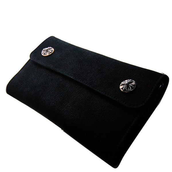 CHROME HEARTS(クロムハーツ) ウェーブウォレット/ブラックデストロイレザー・クロスボールボタン 財布