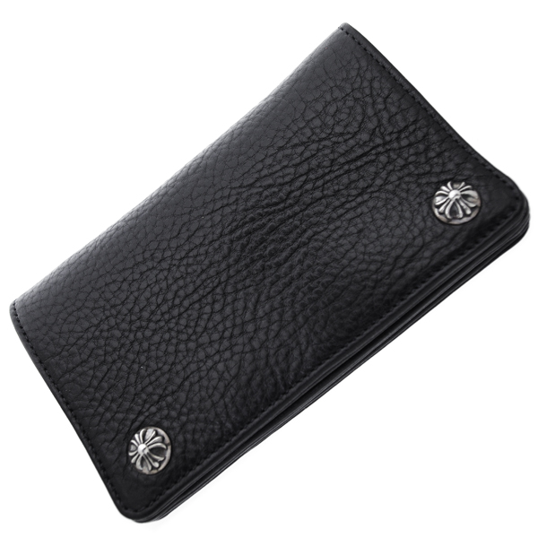 【クロムハーツ 財布】CHROME HEARTS 1ZIPウォレット/ブラックヘビーレザー・クロスボールボタン 財布