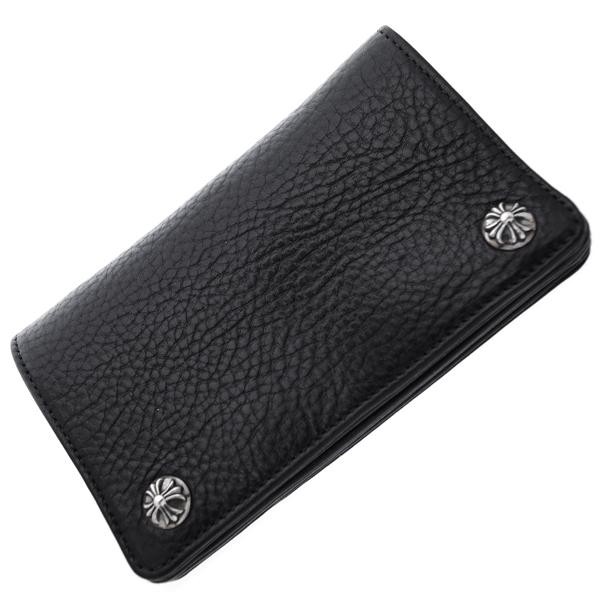 CHROME HEARTS(クロムハーツ) 1ZIPウォレット/ブラックヘビーレザー・クロスボールボタン 財布