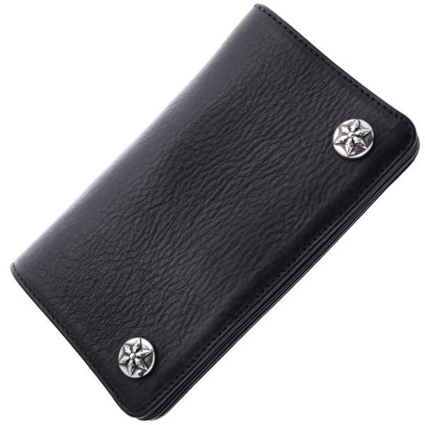 【クロムハーツ 財布】CHROME HEARTS 1ZIPウォレット/ブラックヘビーレザー・スターボタン 財布