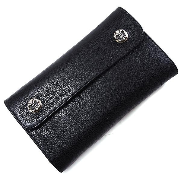 【クロムハーツ 財布】CHROME HEARTS ウェーブ・BSボタン・ブラック・ヘビーレザー Wave Wallet Black Heavy Leather w/BS Fleur Buttons