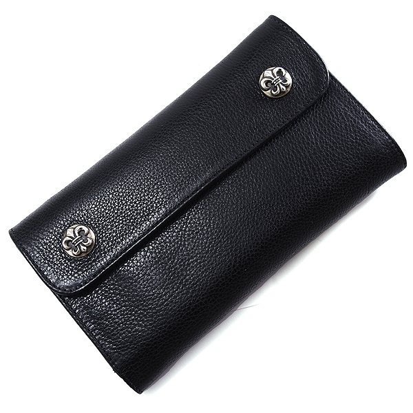 CHROME HEARTS(クロムハーツ) ウェーブ・BSボタン・ブラック・ヘビーレザー Wave Wallet Black Heavy Leather w/BS Fleur Buttons